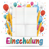 Banner Balloons Letters Folded Lined Paper Einschulung Royalty Free Stock Images