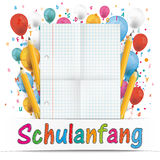 Banner Balloons Letters Folded Paper Schulanfang Royalty Free Stock Photography