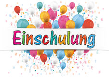 Banner Balloons Letters Numbers Einschulung Stock Photography