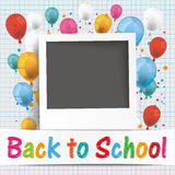 Banner Balloons Photo Back To School. Back to school flyer with photo and colored balloons Royalty Free Stock Photography