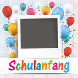 Banner Balloons Photo Schulanfang. German text Schulanfang, translate Back to School Royalty Free Stock Image