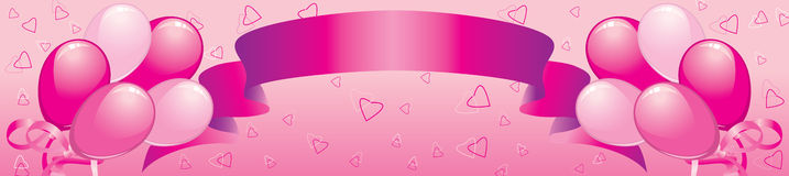 Banner with balloons, a tape and hearts. Celebratory are pink banner with balloons, tape and hearts Royalty Free Stock Photography