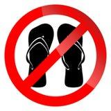 Banner ban symbol with crossed flip flops vector illustration