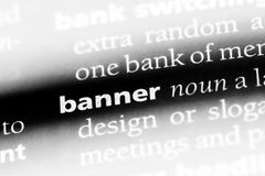 Banner. Word in a dictionary.  concept Royalty Free Stock Photography
