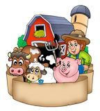 Banner with barn and country animals Royalty Free Stock Photos