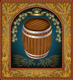 Banner barrel advertising wine beer Royalty Free Stock Image