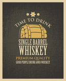 Banner with a barrel of whiskey in retro style Royalty Free Stock Photo