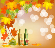 Banner with a barrel of wine in bottles and glasses Royalty Free Stock Photography