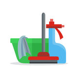 Banner with Basin, Duster, Broom, Glass Cleaner Stock Images