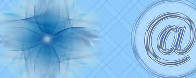 Banner: Be creative with the Internet. This banner / header has a grid(-like) background pattern. On the left side is an abstract, transparent design, being a Stock Photo