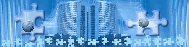 Banner: Be the missing piece. This business related header / banner has an abstract background. In the middle is a modern skyscraper, being a symbol for Stock Photo