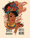 Banner with beautiful african american woman and coffee cups Royalty Free Stock Photography