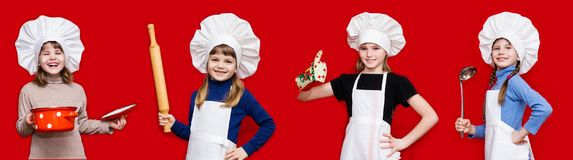 Banner of beautiful little girls in form of cook on red royalty free stock images