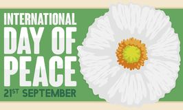 White Poppy over Label to Celebrate International Day of Peace, Vector Illustration. Banner with beautiful white poppy over a green label to celebrate royalty free illustration