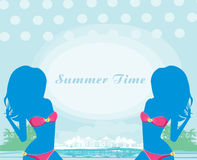 Banner with beautiful women silhouettes. Stock Images