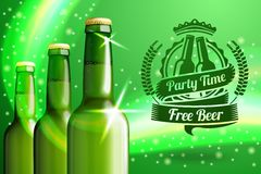 Banner for beer adwertisement with three realistic Stock Photos