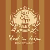 Banner with beer label royalty free illustration