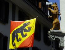 The banner of Bern seen in  Thun, Switzerland Royalty Free Stock Photography
