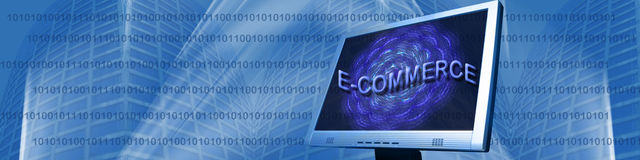 Banner: Binair getal en Elektronische handel Royalty-vrije Stock Afbeeldingen