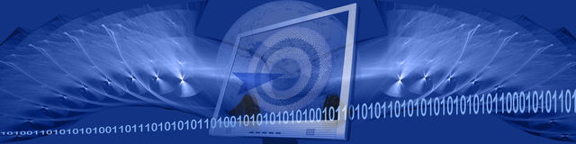 Banner: binary, technology and targets Stock Image