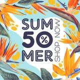 Summer sale poster template with Strelitzia Reginae Bird of Paradise. stock illustration