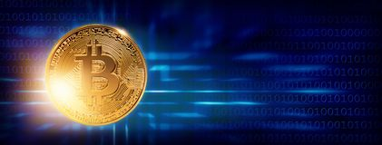 Banner with bitcoin. On a blue background Stock Photos