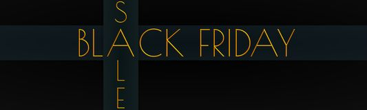 A banner with `BLACK FRIDAY` & `SALE` written in gold royalty free illustration