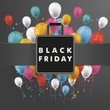 Banner Black Friday Shopping Bag Balloons Royalty Free Stock Photo