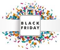 Banner Black Friday Shopping Bag Confetti Royalty Free Stock Image