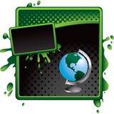 banner black globe green halftone 免版税图库摄影