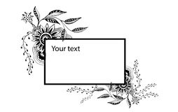 Banner black and white. Black-and-white banner with floral ornaments stock illustration