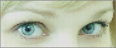 Banner blue eyes girls from multicolored circles Stock Photos