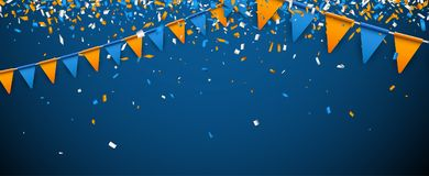 Banner with flags and confetti. Banner with blue and orange flags and paper confetti. Vector illustration Stock Images