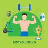 Banner of bodybuilding on a green background vector illustration