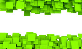 Banner with borders of green cubes. Banner with borders of random 3d green cubes in different sizes in layers with perspective and a central blank white copspace Stock Images