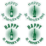 Banner with bottles of beer for St. Patricks Day Stock Photography