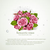 Banner with bouquet of pink roses Royalty Free Stock Photography