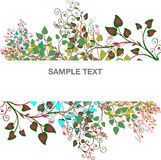 Banner branches of trees and the petals Royalty Free Stock Image