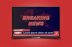 Banner Breaking News template in realistic laptop on colour background. Concept for screen TV channel. Flat  illustration EP. S10 Royalty Free Stock Photos