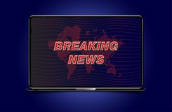 Banner Breaking News template in realistic laptop on colour background. Concept for screen TV channel. Flat  illustration EP. S10 Royalty Free Stock Photo