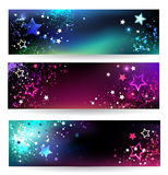 Banner with bright stars Stock Photos