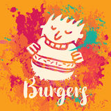 Banner for burger on the abstract background Royalty Free Stock Photo