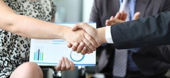 Banner with business chart handshake royalty free stock images