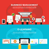Banner for Business management and E-learning. Flat design, Illustration concepts for business, analysis, working, brainstorming,. Monitoring, online learning Stock Image
