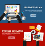 Banner for business plan and business consulting. Flat design illustration concepts for finance, business, management, analysis Royalty Free Stock Photo