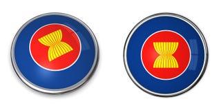 Banner Button ASEAN. Button style banner in 3D of ASEAN Stock Photos