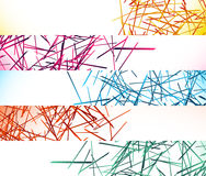 Banner, button backgrounds with abstract random, chaotic lines vector illustration