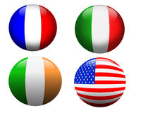 Banner buttons France, USA, Ireland, Italy,. 3 dimensional glass orbs showing flags of France, Italy, Ireland and The USA. Isolated icons Royalty Free Stock Photos