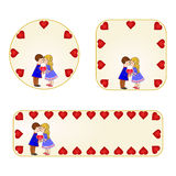 Banner and buttons Valentines day  figure Kids and heart vector Royalty Free Stock Image