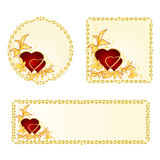 Banner and buttons Valentines day heart with golden leaves  vector Stock Photography